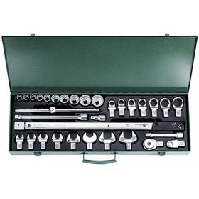 730R/40/32 - Zestaw: klucz dyn.80-400 Nm z nasadkami w walizce metalowej,32-częściowy